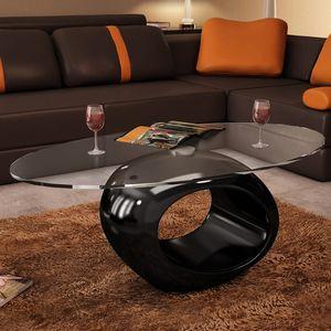 vidaXL Couchtisch mit ovaler Glasplatte Hochglanz Schwarz