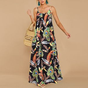 Damen Sling Kleid Loses Bedrucktes Lässiges Langes Kleid,Farbe: Schwarz,Größe:S