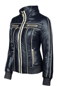 Trisens Damenjacke im Bikerlook mit Kapuze – leichte Übergangsjacke, Farbe:Dunkelblau, Größe:M