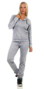 Damen Jogginganzug  Freizeitanzug Hausanzug Anzug, Grau Meliert L