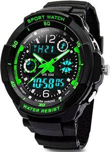 Digital Uhren für Kinder Jungen - Wasserdicht Outdoor Sports Digitaluhren Analog Armbanduhr mit Wecker/Timer/LED-Licht
