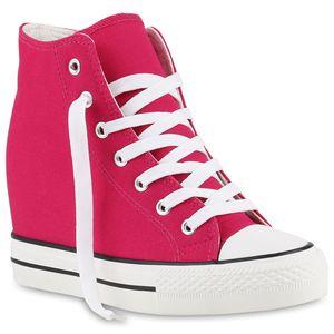 Mytrendshoe Damen Sneakers Keilabsatz Sneaker-Wedges Stoffschuhe Schnürer 892205, Farbe: Pink, Größe: 40