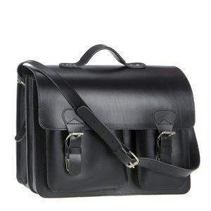 Ruitertassen Lehrertasche Leder Damen Herren Schultasche Aktentasche 2 Fächer schwarz