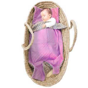 Babydecke Minky Decke Baby - kuscheldecke erstlingsdecke Babydecken für Kinder Mädchen und Junge Kinderdecke 75x50cm mit flach Kissen 35x35cm Baumwolle rosa-weiß Minky grau