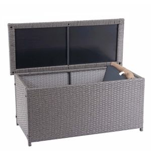 Poly-Rattan Kissenbox HWC-D88, Gartentruhe Auflagenbox Truhe  Basic grau, 63x135x52cm 320l