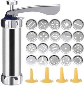 Cookie Press Aus Aluminium Kekspresse-Set, Keksmaschine Gebäckpresse mit 20 Aufsätzen für dünnen Teig, Edelstahl, Silber