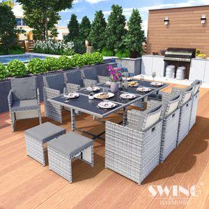 Poly Rattan Sitzgruppe Esstisch Lounge Gartenmöbel Sitzgarnitur 13-Teilig Garten-Garnitur Set 1x Tisch + 8x Stühle + 4x Hocker - grau