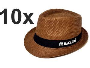 Bacardi Hut Hüte Strohhut Strandhut partyhut Sonnenhut braun - 10er Set Material : 100% Stroh