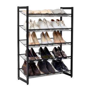 SONGMICS Schuhregal 74 x 104 x 30,7 cm  für 15-20 Paar Schuhe aus Metallgewebe mit 5 Ebenen erweiterbar Schuhständer LMR005B