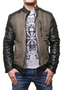 RUSTY NEAL Jacke Frühlings-Jacke coole Herren Kunstleder-Jacke im Biker-Look Khaki, Größe:XXL