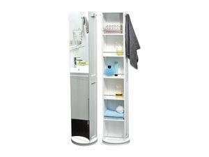 Sehr praktischer schwenkbarer MDF-Hochschrank mit Spiegel und Aufbewahrungsnischen - Weiß - 170x40x14cm - Aufbewahrungsschrank - Stauraum - Badezimmermöbel - Möbel