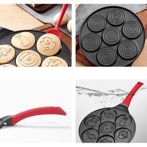 Pancake Maker Pan - Bratpfanne Pfannkuchenform Formen fuer Kinder Antihaft-Pfannkuchen-Bratpfanne mit 7 Tierformen