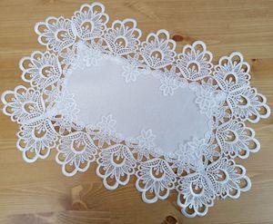 Tischdecke Tischläufer Läufer Deckchen mit Spitze Polyester Weiß 30x50