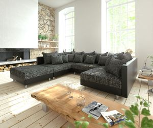 Couch Clovis Schwarz mit Hocker Wohnlandschaft Modulsofa