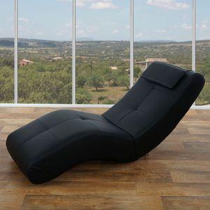 Relaxliege Livorno II, Recamiere Chaiselongue  Kunstleder, schwarz