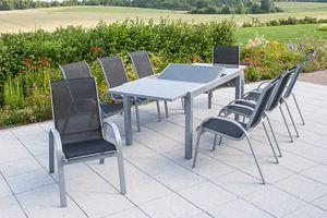 Merxx 9tlg. Amalfi Gartenmöbelset, schwarz - 8 Sessel, 1 Tisch - Farbe: schwarz - Maße: Sessel: 75x57x95 Tisch: 160/220x90x75; 8x 26310-317 + 1x 26452-219