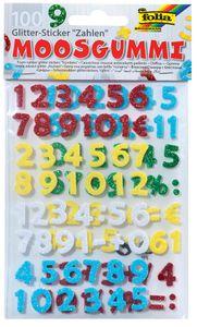 folia Moosgummi Glitter-Sticker Zahlen 100 Stück