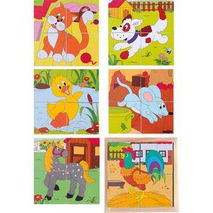 WÜRFELPUZZLE KINDER Bauernhof Tier Bilder Holzspielzeug Lernspiel Puzzle