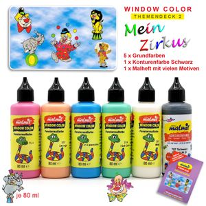 Window Color Zirkus Set 6 Fenstermalfarben Fensterfarben Malfarben Fensterbild