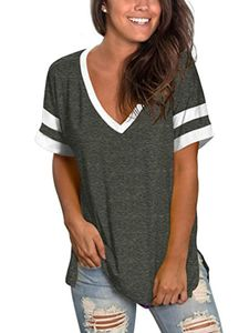 Frauen's lässig T-Shirt V-neck Kurzärmel genäht Top split hem,Farbe: Grau,Größe:XXL