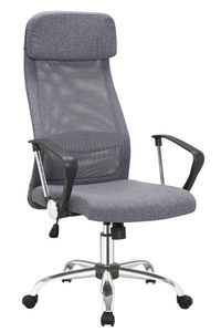 SalesFever Bürostuhl mit Armlehnen | Bezug Leinen-Stoff | Gestell Chrom | Mesh - Design | höhenverstellbar | B 62 x T 60 x H 118 - 128 cm | grau