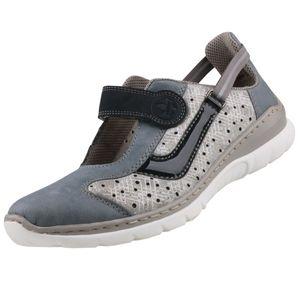 rieker Damen Halbschuhe Silber/Blau Schuhe, Größe:42
