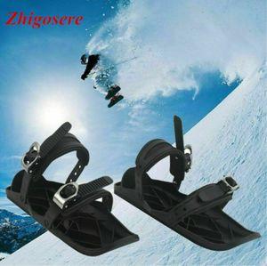 Snowfeet 1 Paar Schwarz Snowboardschuhe, Mini Ski Skates Für Schnee, Schneeschuhe Für Winter Sport Herren Damen,Anwendbare Größe: 38-47