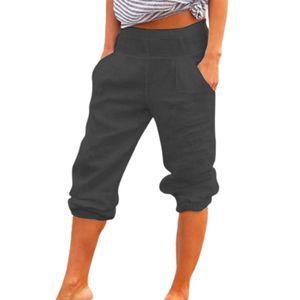 Casual Frauen Capri Hosen Taschen Einfarbig Hohe Taille Lose 3/4 Hose für den Alltag Dunkelgrau M