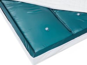 Doppelte Wasserbettmatratze Blau Vinyl 180 x 200 cm Dual System Unberuhigt Mittelfest zwei Wasserkerne mit identischen Beruhigungsstufen