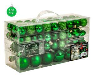 100 teiliges Set Lamettini Grün Weihnachtskugeln Spitze Lametta Anhänger