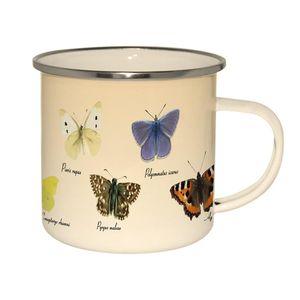 Emaille Tasse heimische Schmetterlinge, Kaffeepott, Henkelbecher, Kaffeetasse