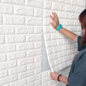 1 Set (10 Stk)große 3D wasserdichte Fliesen Ziegel Wand Aufkleber selbstklebende Schaum Panel 70x77cm Weiß