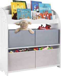 ONVAYA® Kinder Bücherregal Finn | Grau | Kinderregal mit Boxen | Aufbewahrung von Büchern und Spielzeug | Organizer für Kinderzimmer