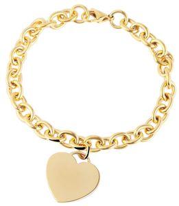 Akzent Armband mit Herz-Anhänger golden glänzend 21 cm