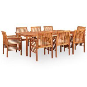 Gartenmöbel Essgruppe 8 Personen ,9-TLG. Terrassenmöbel Balkonset Sitzgruppe: Tisch mit 8 Stühle mit Auflagen Massivholz Akazie❀1764