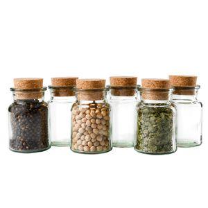 6er Set Gewürzgläser 150ml + Korken, Aufbewahrung von Tee, Kräutern & Gewürzen