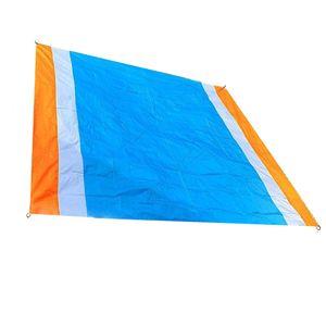Strand Picknickdecke Stranddecke Strandmatte, Wasserdichte Strandtuch Matte, Tragbare Camingmatte Doppelt Klappmatte Orange + Weiß + Blau