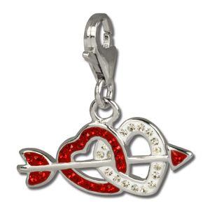 SilberDream rot Charm Doppelherz Zirkonia 925 Silber Charms-Anhänger GSC503R