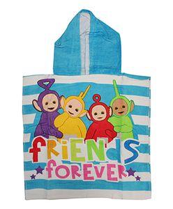 Teletubbies Kinder Badeponcho mit Kapuze Blau Friends Forever