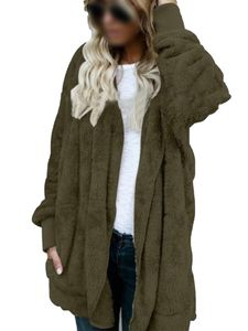 Plus Size Damen Kapuze Strickjacke Winter warme Kunstpelz Mantel,Farbe: Armeegrün,Größe:XXL