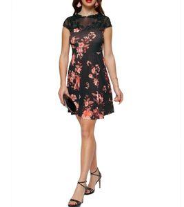 melrose Mini-Kleid elegantes Damen Cocktail-Kleid mit Mesh-Applikationen Schwarz, Größe:38