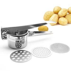 Edelstahl Kartoffelpresse Spätzlepresse Spaghettieispresse mit 3 Locheinsätzen
