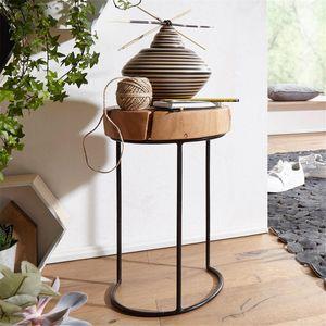 Beistelltisch Massiv-Holz Akazie Wohnzimmer-Tisch Metallbeine Landhaus-Stil Baumstamm-Form Echt-Holz Natur B/H/T ca. 28/45/28cm