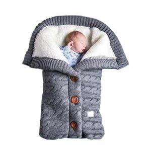 Baby Schlafsack für Kinderwagen Gestrickt Schlafsack Süße Samt Warme Tasche Pucksack Stricken Wickeln Abnehmbare Ärmel Strick Decke Schlafsack Swaddle für Babys Neugeboren