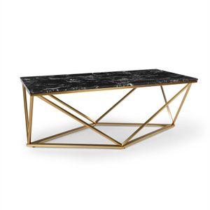 Besoa Black Onyx I Couchtisch, Beistelltisch, Größe: 110 x 42,5 x 55 cm (BxHxT), Tischplatte: schwarzer Marmor, Gestell: Metall, Farbe: Gold / Schwarz