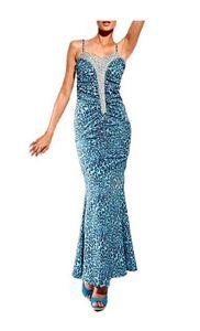 Carry Allen by Ella Singh Designer- Leoabendkleid, blau Schnäppchen Größe: 42