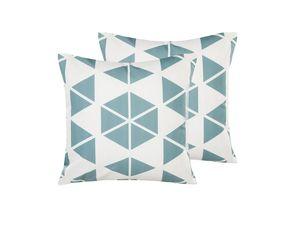 Gartenkissen 2er Set weiß-blau 45 x 45 cm aus Polyester mit Dreiecksmotiv Quadratisch Garten/ Balkon /Terrasse modernes Design