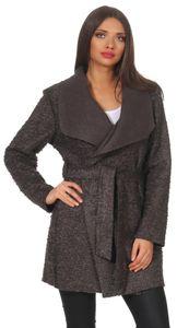 292 Mississhop Damen eleganter Wollmantel Cardigan Trenchcoat mit Gürtel Coat OneSize 36 38 40 42 Graphit
