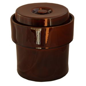 GÄRTOPF Keramik Sauerkrauttopf Gurkentopf Rumtopf Tontopf mit DECKEL 5 L braun