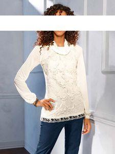 Linea Tesini Damen Designer-Spitzen-Jerseyshirt, ecru, Größe:38